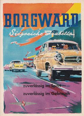 Kleurrijke advertentie voor de Borgward Isabella in een Duits tijdschrift uit 1958.