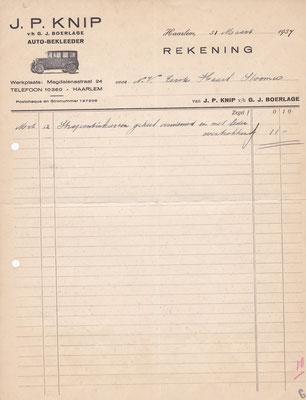 """Rekening """"auto-bekleeder"""" uit 1937."""