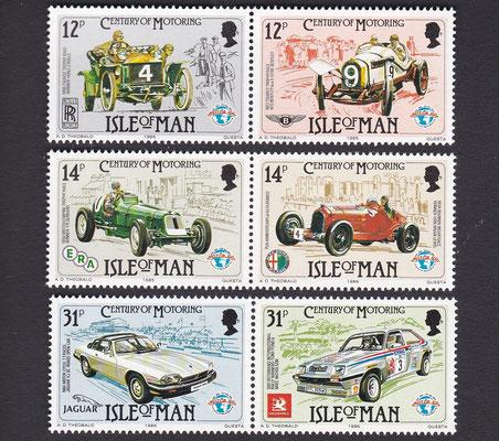 Postzegels Isle of Man, Century of Motoring, uit 1985.