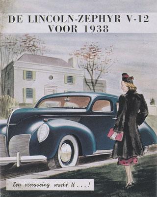 Reclame van Ford voor de Lincoln-Zephyr V12 voor 1938.