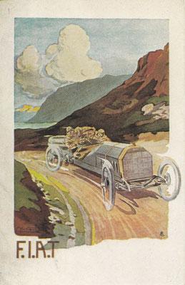 Een postkaart van Fiat uit 1906 ontworpen door Montant.