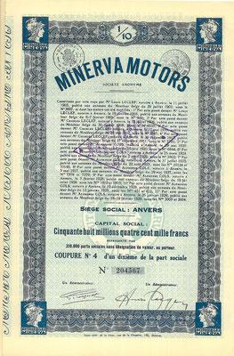 Aandeel Minerva Motors S.A. uit 1929.