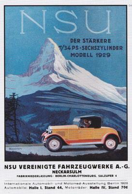 Affiche voor de NSU 7/34 pk zescilinder uit 1929.