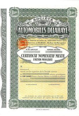 Certificaat voor  aandelen Société des Automobiles Delahaye S.A. met het oude logo. (blanket)