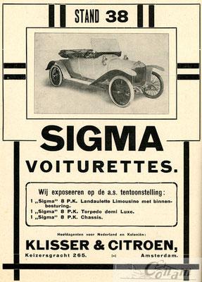 Nederlandse advertentie voor Sigma uit 1913.