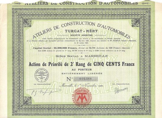 Een preferent aandeel Ateliers de Construction d'Automobilles Turcat-Méry S.A. uit 1921.