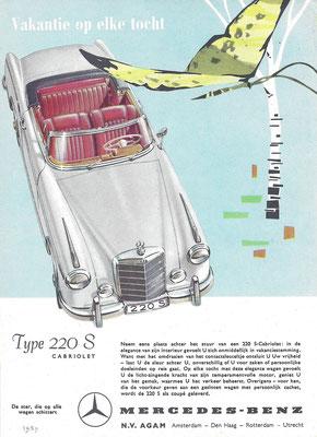 Advertentie van AGAM voor Mercedes-Benz 220 S Cabriolet uit 1959.