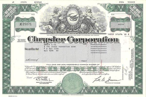 Certificaat voor 2 aandelen Chrysler Corporation uit 1983.
