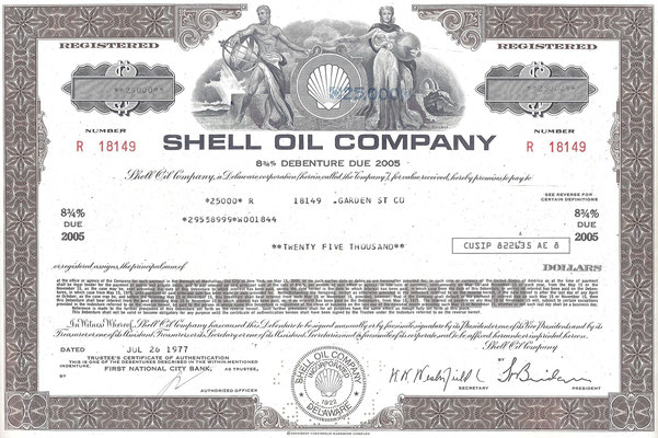 Obligatie van $ 25.000 Shell Oil Company uit 1977.