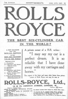 Een advertentie van Rolls-Royce uit 1907.
