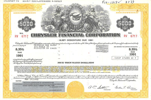 Obligatie Chrysler Financial Corporation, 5.000 dollars uit 1982.