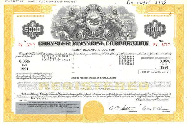 Obligatie Chrysler Financial Corporation, 5.000 dollars uit 1982.