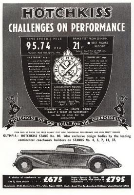 Een Engelse advertentie voor Hotchkiss uit 1935.