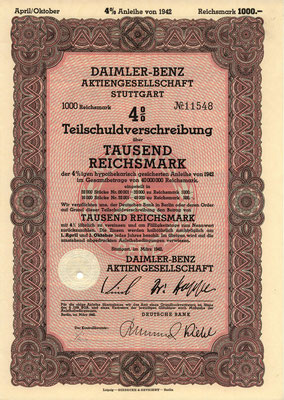 Obligatie Daimler-Benz A.G. 1.000 RM uit 1942.
