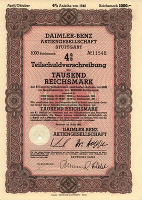 Obligatie (Teilschuldverschreibung) 1000 RM Daimler-Benz A.G. Stuttgart uit 1942.