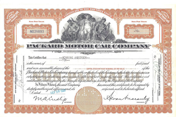 10 Aandelen Packard Motor Car Company uit 1929. Dit stuk (met een ander nummer, jaartal en tenaamstelling) is te koop, prijs € 15,00 email: automobielhistorie@gmail.com