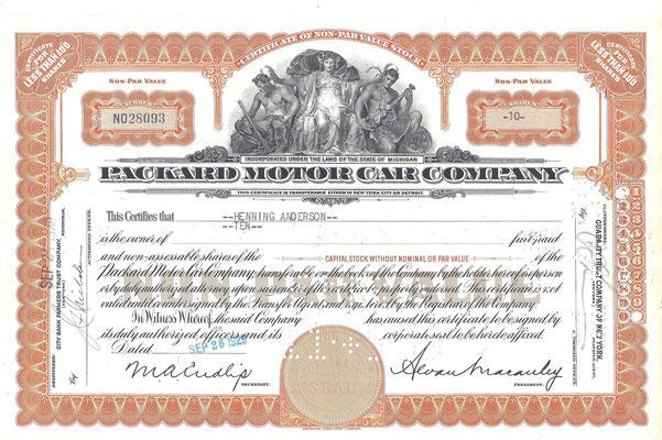 Certificaat voor 10 aandelen Packard Motor Car Company uit 1929.