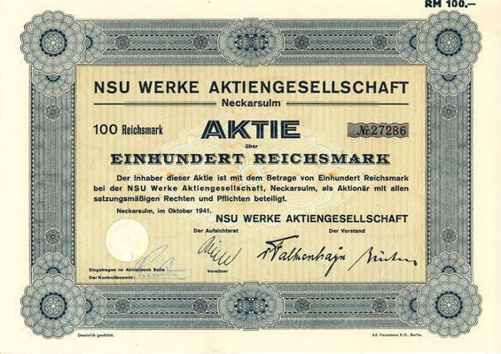 Aandeel 100 RM NSU Werke A.G. uit 1941.