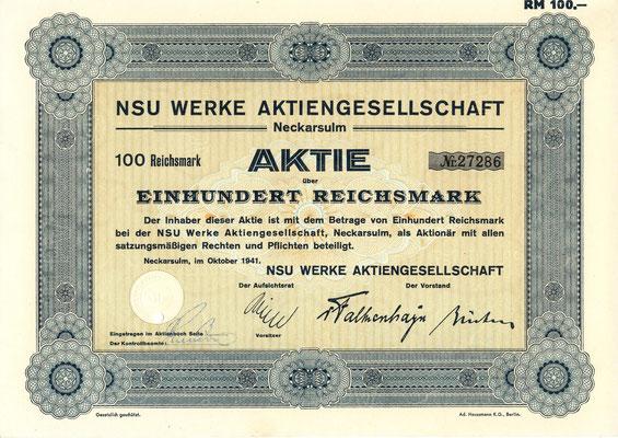Aandeel 100 RM NSU Werke A.G. Neckarsulm uit 1941.