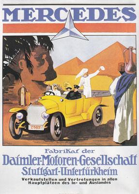 Reclame van Mercedes kort na de 1e Wereldoorlog.