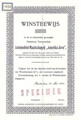 """Een winstbewijs Automobiel-Maatschappij """"Amerika-Java"""" uit 1916 (specimen)."""