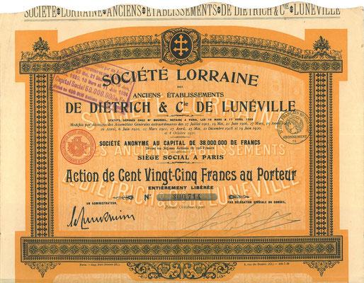Aandeel Société Lorraine des anciens Établissements De Dietrich & Cie uit 1920.