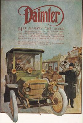 Advertentie Daimler. Jarenlang maakte de Britse koninklijke familie uitsluitend gebruik van Daimlers.