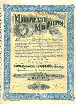 Aandeel Minerva Motors S.A. uit 1925.