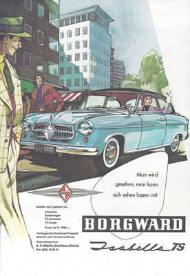 Zwitserse advertentie Borgward Isabella.