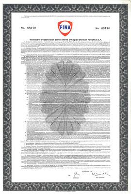 Warrant voor 7 aandelen Petrofina S.A.