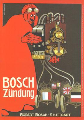 Deze advertentie van Bosch uit 1908 met een demonische figuur was karakteristiek voor deze periode. De internationale toepassing van Bosch ontstekingen op race auto's blijkt uit de verschillende vlaggen.