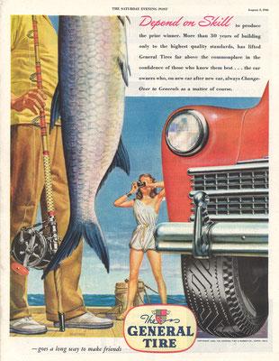 Een advertentie van Ceneral Tire in The Saturday Evening Post uit 1946.