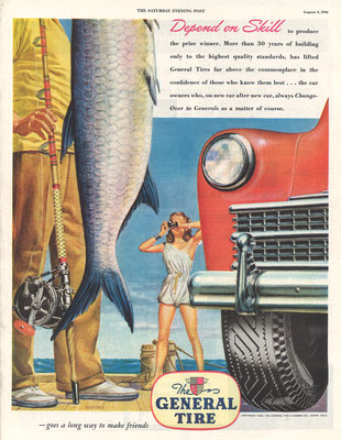 Advertentie General Tire in The Saturday Evening Post uit 1946.