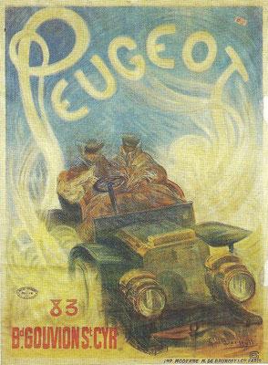 Een affiche van Peugeot.