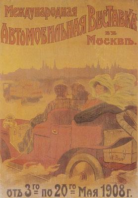 Poster voor de automobieltentoonstelling in 1908 in Rusland.