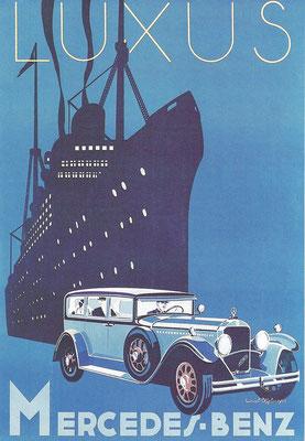 Een affiche van Mercedes-Benz.