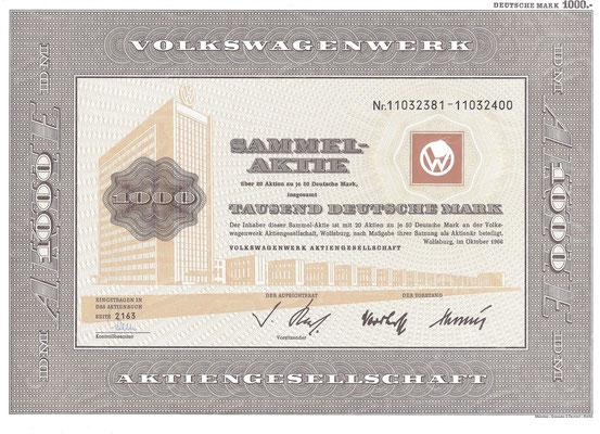Aandelen (Aktien) DM 1.000 Volkswagenwerk A.G. Wolfsburg uit 1966.