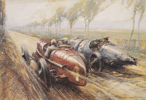 Gordon Crosby maakte dit kunstwerk van de Grand Prix van Duitsland 1922. Felice Nazzaro die met zijn Fiat eerste werd, haalt hier Pierre de Vizcaya met Bugatti in die als tweede zou eindigen. Piero Marco werd derde met een Bugatti.