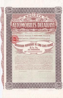 Obligatie Société des Automobiles Delahaye S.A. uit 1916 met het oude logo. (blanket)