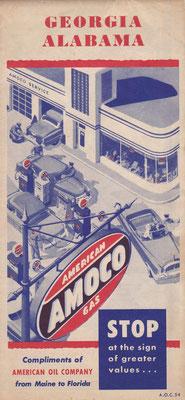 Kaart Georgia en Alabama. Amoco (American Oil Company), 1954.