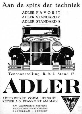 Een advertentie van Nefkens voor Adler uit 1930.