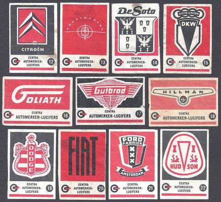 Centra lucifers, automerken, 1957, 12-22.