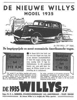 Een Nederlandse advertentie voor de Willys 77 uit 1935.
