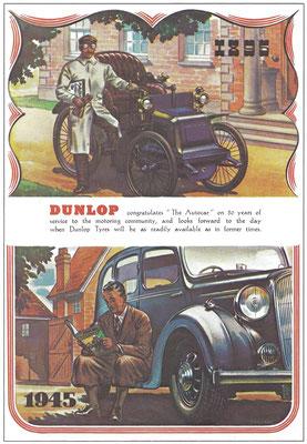 Een advertentie van Dunlop uit 1945.