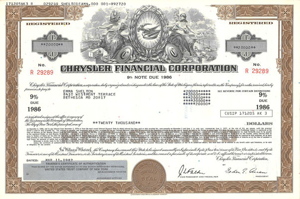 Obligatie Chrysler Financial Corporation, 20.000 dollars uit 1982.