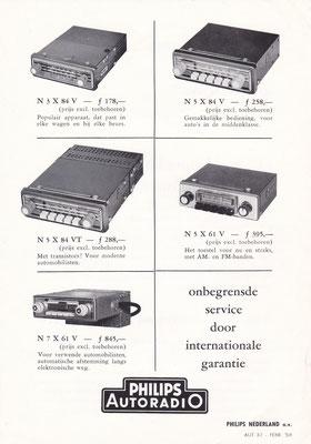 Folder Philips autoradio's uit 1958.