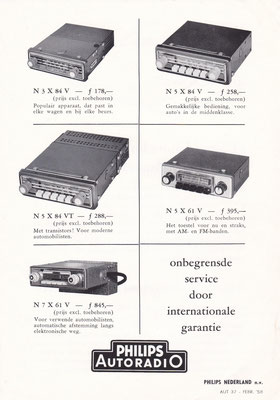 Folder Philips autoradio's uit 1958.