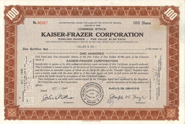 Certificaat voor 100 aandelen Kaiser-Frazer Corporation uit 1945.
