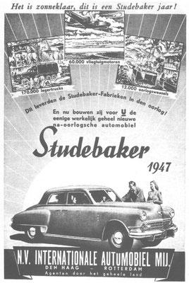 Een Nederlandse advertentie voor Studebaker uit 1947.