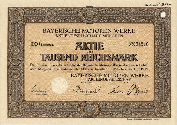 Aandeel Bayerische Motoren Werke A.G. uit 1944.